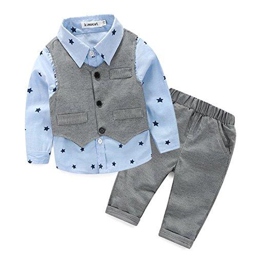 [Babyanzug für Jungen]Gentleman Bekleidungsset Baumwolle Babyanzug Langarm +Weste+Lange Hose Sommer Anzug Festliche Kleidung für Kleinkind-03A-95