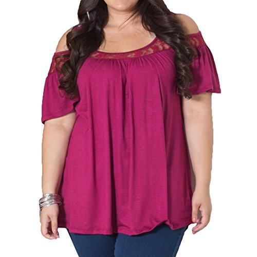 Hibote Femme Plus Size Blouses Sling Chemises Femme T-shirts Solide Couleur Pull Chemise Dame Chemises Minceur Élégant Tops Casual Blouse Rouge A