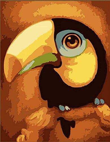 PaintingStudio grande bouche noire Parrot bricolage peinture a l'huile par kit numero toile d'image 16x20 pouces Frameless