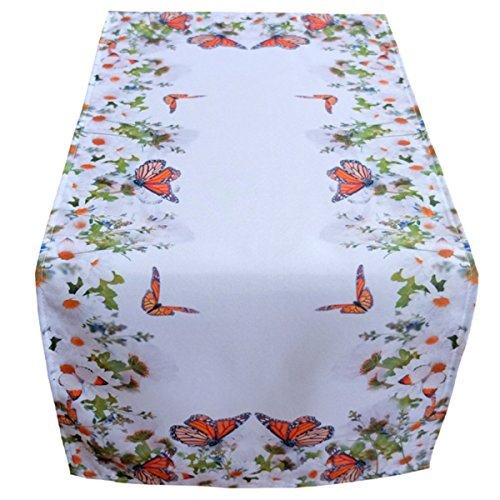 Chemin de table blanc 40 x 90 cm Nappe Nappe Pâques Décoration de table Printemps Multicolore Fleurs Et Papillons
