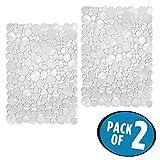 mDesign tappetino lavello antigraffio in PVC – Tappetino scolapiatti per lavandino – Sistema antiurto per stoviglie – Set da 2 – Trasparente – 30,5 cm x 39,4 cm