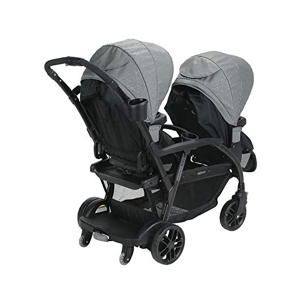 Graco Modes Duo Tandem Pushchair, Shift Graco 27 riding options for 2 children from infant to toddler; click connect attaches with all graco snug ride/essentials infant car seats. suitable from birth to 13kg (approx. 3 years) Two removable, multi-position reclining seats can be positioned rear or forward facing; the built-in bench seat gives your big kid a place to rest; both front and rear seats hold up to 15kgs One-hand standing fold, folds with seats on or off; locking front swivel wheels for superior manoeuvrability; one-step brakes make stopping, and going again, quick and easy 15