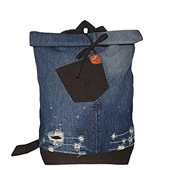 Großer Tagesrucksack nachhaltig Braun und Blau Denim Rucksack mit Fronttasche Weihnachtsgeschenk Unisex Reisetasche Laptop Sport Rucksack für den Alltag