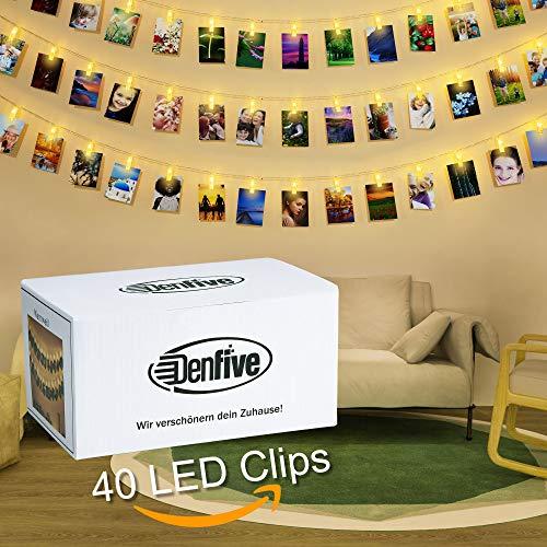 DENFIVE® 40 LED Fotoclips mit Lichterkette - LED Fotolichterkette zum stilvollen dekorieren - LED Fotokette - Clip Bilder - Inkl. Deko-Tipps