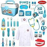 Buyger 32 Piezas Juguete de Doctora Enfermera Disfraz Cosplay de Médico Maletín Caso Dentista Clínica Dental Juego de rol Regalos para Niños (Azul)