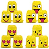Konsait Emoji Turnbeutel für Kinder (12 Pack), Emoji Sporttaschen Rucksack Gym Sack Beutel Sportbeutel Assortiert Emoticon Partytüten für Kindergarten Jungen Mädchen Geschenk Kindergeburtstag Party