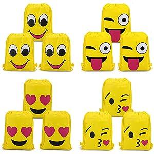 51PUkQH93lL. SS300  - Konsait Emoji Bolsa de Cuerdas para Infantil (12Pack), Emoji Cordón Mochila Bolsas Regalo Cumpleaños Deporte Gimnasio Backpack para niños Niñas Fiesta de cumpleaños favores Decoraciones