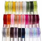 Cintas de satén y organza para manualidades, bodas y decoraciones. Carrete de cintas de 25 m de largo, Golden Tan, 40mm x 25m