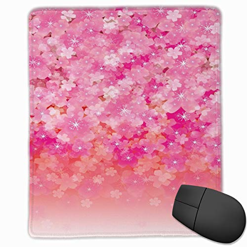 Mouse Mat Stitched Edges, Cherry Blossom Tree Flowers In Vibrant Tones Spring Beauty Illustration Japan,Gaming Mouse Pad Non-Slip Rubber Base