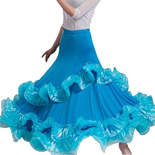 Rongg Tanzendes Kostüm Moderne Tanzröcke Für Frauen Wettbewerb Ballsaal-Tanz-Praxis-Kleid, Blue, M (Blue Zeitgenössischen Tanz Kostüm)