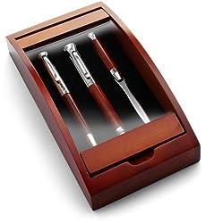 Schreibset'Borkum' aus Rosenholz - Kugelschreiber, Füllfederhalter, und Etui