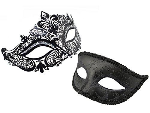 2 PACK Set Unisex Mardi Gras Kostüm venezianischen Maskerade Maske Laser geschnitten