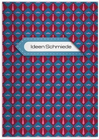 32 Hipster moustache moustache moustache cahiers personnalisés avec des cravates, rose-bleu, A4 (29,7 x 21; 32p) cahiers de maths, linéatur 29 (carreaux 5x9mm; avec bord des deux côtés) | La Conception Professionnelle  ce7b8b