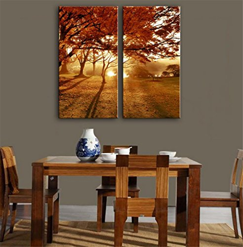 xiuxiandianju-2-pcs-creative-sunset-lumiere-bois-peinture-decorative-giclee-toiles-frameless-peintur