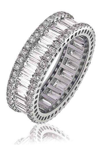 Certificata 2,75Ct G/VS2Baguette e taglio brillante rotondo Claw Set di 3Row diamante Full Eternity Anello in oro bianco 18K, oro bianco, 58 (18.5), cod.