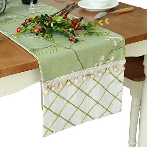 WTY Tischläufer, American Style Baumwolle und Leinen pastoralen Stickerei Tischläufer TV-Schrank Tuch, grün (mehrere Größen),33 * 240(13 * 94Inches)