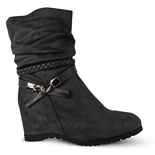 43043b9f8a3f4f Damen Stiefeletten Keilabsatz Boots Stiefel leicht gefüttert Wedge ST752  Grau