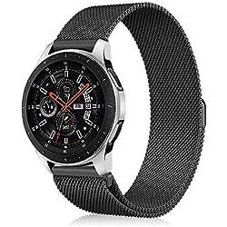 Fintie Bracelet pour Samsung Galaxy Watch 46mm / Gear S3 Frontier/Gear S3 Classic Smartwatch - Sport Poignet en métal Replacement Bracelet avec Fermeture magnétique, Noir