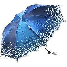 LIMEI Paraguas De La Lluvia O Sol De Doble Uso,Blue