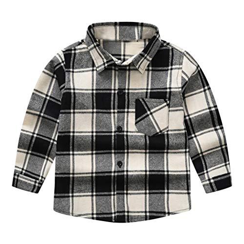 LEXUPE Jungen Kariertes Hemd Langarm-Shirts für Mädchen Rot Schwarz (C-Weiß,150)