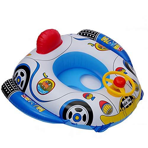 Kintone Baby Schwimmring Schwimmhilfe Cartoon Auto Schwimmsitz Bojensitz Bad Baby Float Aufblasbare Boje Ring Schwimmbad (Blau, 69*65cm)