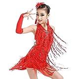 Xmiral 4Pcs Conjuntos de Ballet Baile Latino Vestido Flecos Borla para Niñas Traje para Danza Dancewear Disfraz