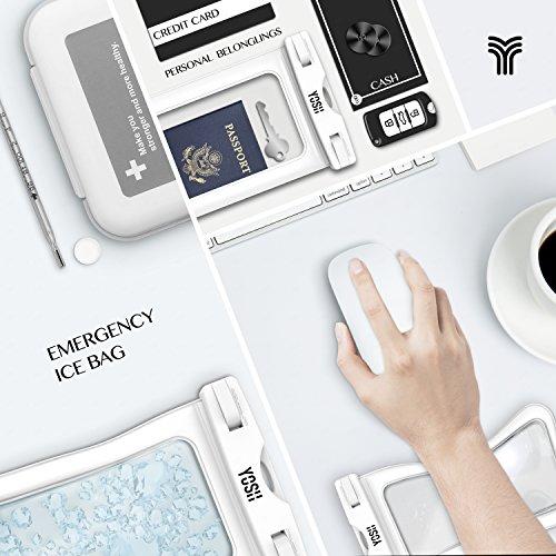 Custodia Impermeabile ✪ GARANZIA A VITA ✪ YOSH® Universale 6 Pollici Waterproof Case per iPhone 6s 6 plus 5c 5s 5 se, Samsung Galaxy s7 s6 s5 edge plus, Huawei P9 P8, LG, HTC M8, M9 Plus, ecc IPX8 (Ne Bianco