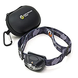 Ultra-Bright LED Head Torch Flashlight +BONUS Case. Cool GIFT for Running, Camping, Hiking. Lifetime Warranty. White-Red-Strobe Lights with Dimmer – Only 3.2oz – Waterproof IPX4. 3 Energizer AAAs Incl