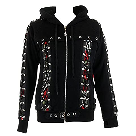 Banned Pixie Skull Hoodie (Black) - Small