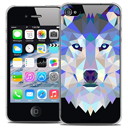 Caseink - Coque Housse Etui pour Apple iPhone 4/4S [Crystal HD Polygon Series Animal - Rigide - Ultra Fin - Imprimé en France] - Loup