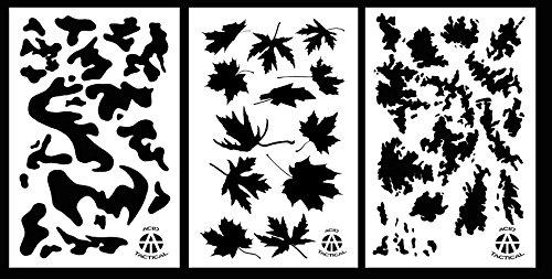 Acid Tactical® 3 Modelle - Armee, TACS, Ahornblatt Tarnung Vinyl Airbrush Sprühfarbe Stencils 35cm...