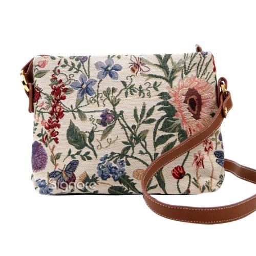 Borsetta donna Signare alla moda in tessuto stile arazzo a spalla borsa messenger a tracolla floreale Giardino al mattino