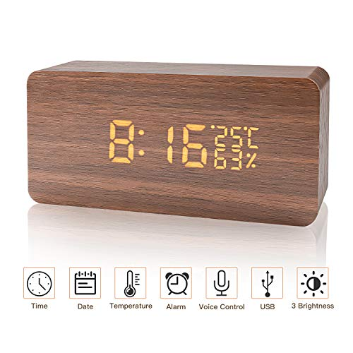 LED Holz Digitaler Wecker USB Digitaluhr 3 Stufen einstellbare Helligkeit Voice Touch Uhrzeit/Datum / Woche/Temperatur anzeigen für Zuhause Schlafzimmer Office Kids Teens(Braun)