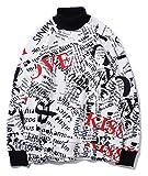 PIZOFF Unisex Hip-Hop Druckmuster Kapuzenpullover - tifer Schalternaht Raglan-Shirt mit Kapuze Liebe und Kuss Y1899-07-L