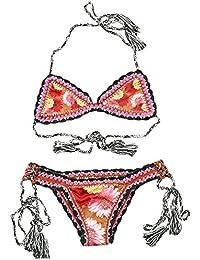 La mujer bohemia Hecho a mano tejido a crochet Beach bikini traje de baño traje de baño bra