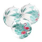 3er Set Flamingo Lampions Tropische Blätter Sommer Deko (Großer Flamingo)