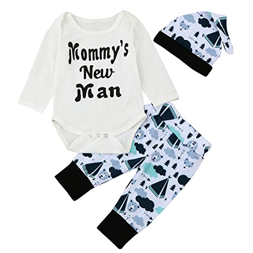 Baby Outfits, FEITONG Baby Boy Briefe Mommy's New Man Tops + Cartoon Hosen + Hut Outfits (18M, Weiß) (Prinz Outfits Für Kleinkinder)