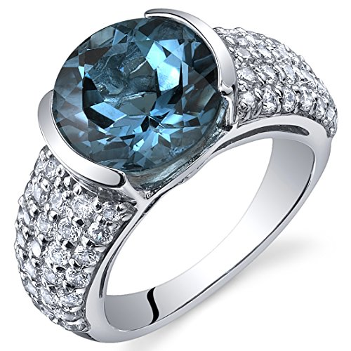 Revoni Bezel Set Large 4.50 Carats London Blue Topaz Ring in Sterling Silver