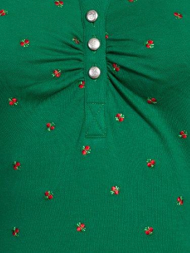 Pleamle Damen Polo gezogene Knopfleiste grün Grün