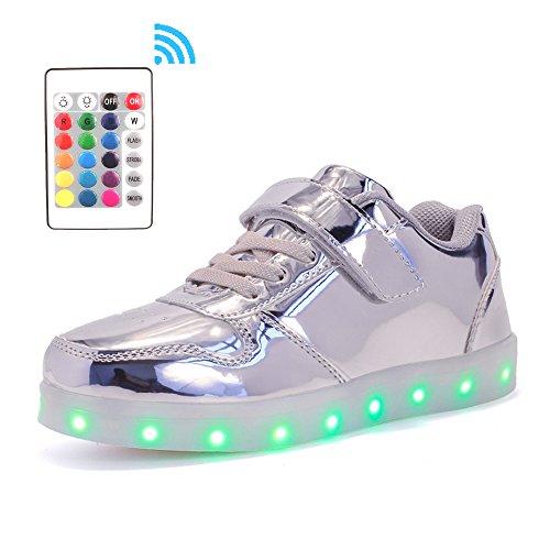 Licht Schuhe mit Fernbedienung LED Leuchtende Blinkende Low-Top Sneaker USB Aufladen Shoes für Mädchen und Jungen(Silber,EU37/CN37) (Schuhe Mit Lichtern)