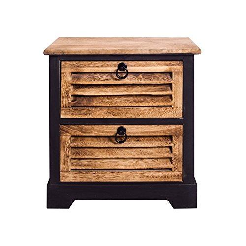 Mobili Rebecca® Schrank Stauraum Nachttisch 2 Schubladen Holz dunkelbraun Urban Vintage Schlafzimmer Badezimmer (Cod. re4548)