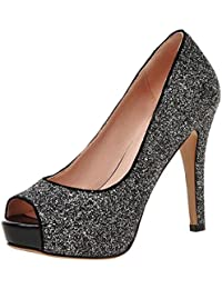 AIYOUMEI Damen Glitzer Peep Toe Pumps mit Plateau Stiletto High Heels Abend Schuhe aPLE9K