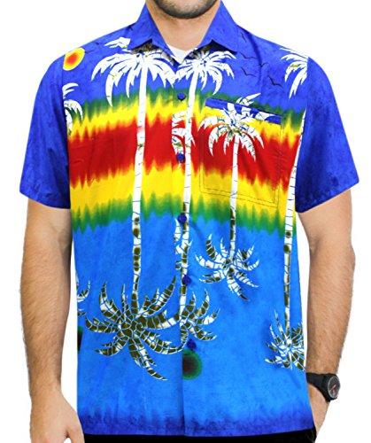 La Leela Likre Sommer Business Casual Billig Lustig Kein Eisen Pflegeleicht klebrigen Rabatt-Angebot für Männer Hawaii-Hemd 3XL Blau (Nicht-eisen-shirt Klassischen,)