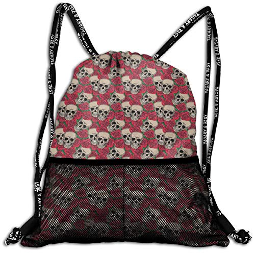 kpack Lightweight Foldable Large Capacity Drawstring Casual Rucksack, Graphic Skulls and Red Rose Blossoms Halloween Inspired Retro Gothic Pattern,Unisex Fitness Bag ()