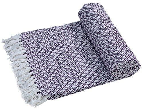 Hockey Club coton super doux Grand fauteuil canapé couverture couvre-lit Lit Double Réversible 150x 200cm, VIOLET