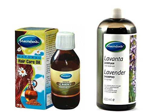 Mecitefendi - Shampoing à la lavande 400 ml avec huile de soin naturelle - 100 ml - Pour lutter contre les pointes fourchues
