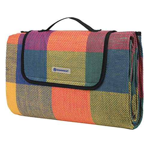 SONGMICS 195 x 150 cm Picknickdecke wärmeisoliert wasserdicht GCM50K - Regen Mehrfarbige Teppiche