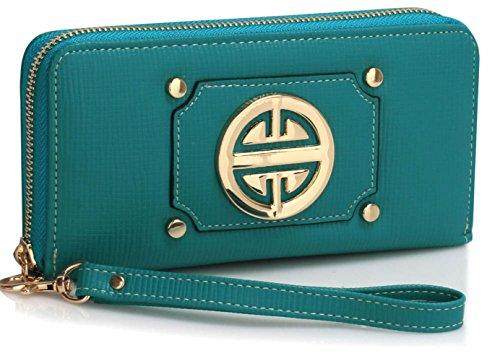 dbörse Mode Essener Berühmtheit Kupplung Münze Qualität Kunstleder Brieftasche mit Metal Dekoration CWP1051 CWP1072 (CWP1051-Teal) (Teal Dekorationen)