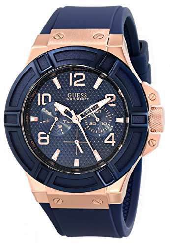 GUESS U0247G3 GENTS RUBBER 46MM STAINLESS STEEL CASE CHRONOGRAPH DATE WATCH
