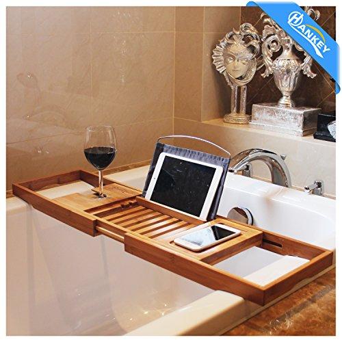 Bambus Badewannenablage Caddy Tablett (erweiterbar) Luxus Spa Organizer mit ausziehbaren Seiten | Natürliches, umweltfreundliches Holz | Integrierte Halterung für Tablet, Smartphone, Wein, Buch